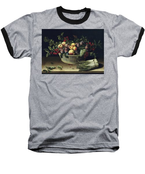 Still Life With A Basket Of Fruit And A Bunch Of Asparagus Baseball T-Shirt