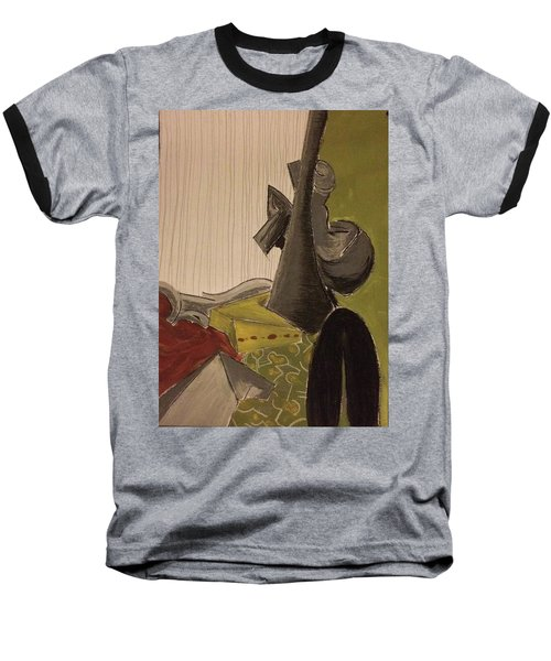 Baseball T-Shirt featuring the pastel Still Life With A Black Horse- Cubism by Manuela Constantin