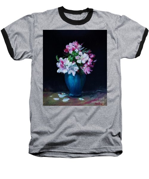 Still Life With Apple Tree Flowers In A Blue Vase Baseball T-Shirt