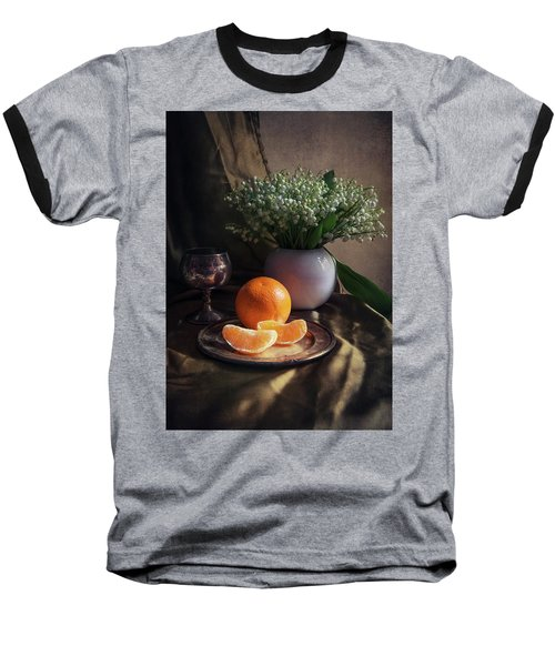 Baseball T-Shirt featuring the photograph Still Life With Fresh Flowers And Tangerines by Jaroslaw Blaminsky