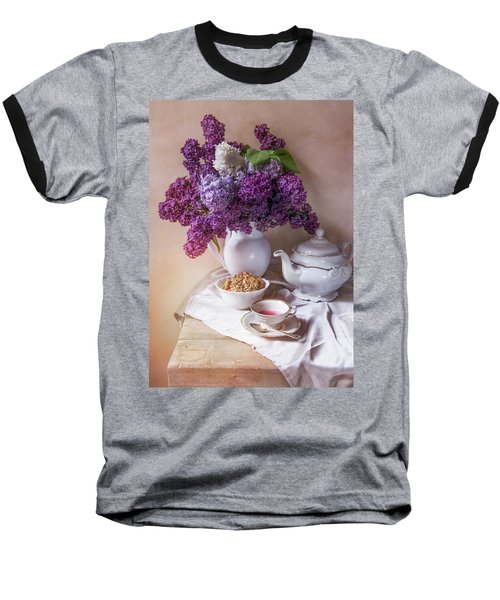 Baseball T-Shirt featuring the photograph Still Life With Fresh Lilac And China Pots by Jaroslaw Blaminsky
