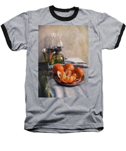 Baseball T-Shirt featuring the photograph Still Life With Fresh Tangerines And Oil Lamp by Jaroslaw Blaminsky