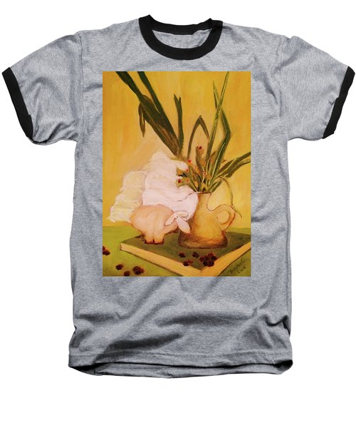 Baseball T-Shirt featuring the pastel Still Life With Funny Sheep by Manuela Constantin
