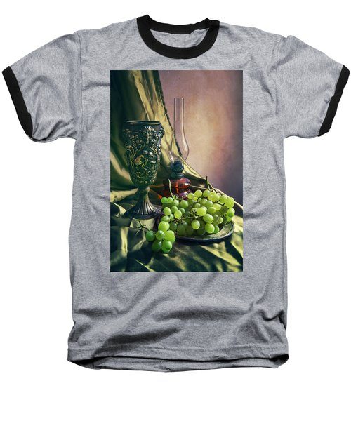 Baseball T-Shirt featuring the photograph Still Life With Green Grapes by Jaroslaw Blaminsky