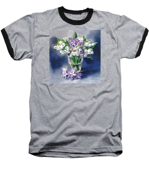 Still Life With Lilacs And Lilies Of The Valley Baseball T-Shirt by Sergey Lukashin