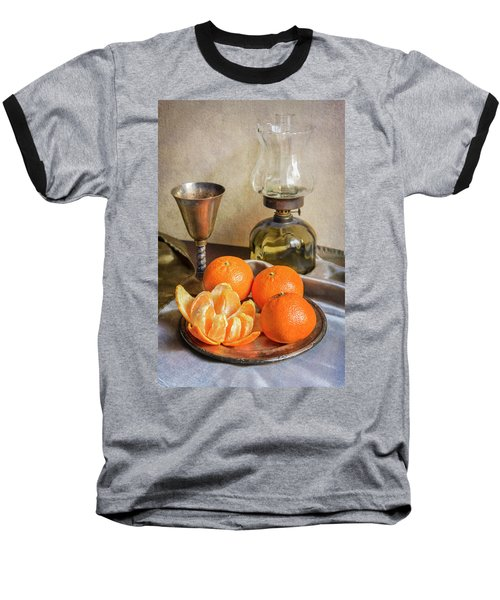 Baseball T-Shirt featuring the photograph Still Life With Oil Lamp And Fresh Tangerines by Jaroslaw Blaminsky