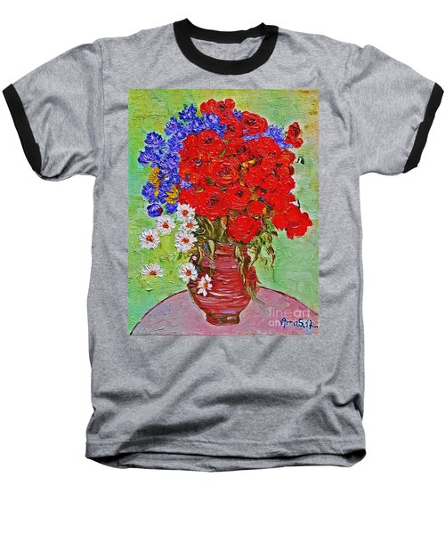 Still Life With Poppies And Blue Flowers Baseball T-Shirt