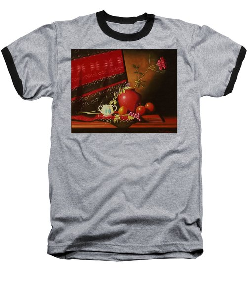 Still Life With Red Vase. Baseball T-Shirt by Gene Gregory