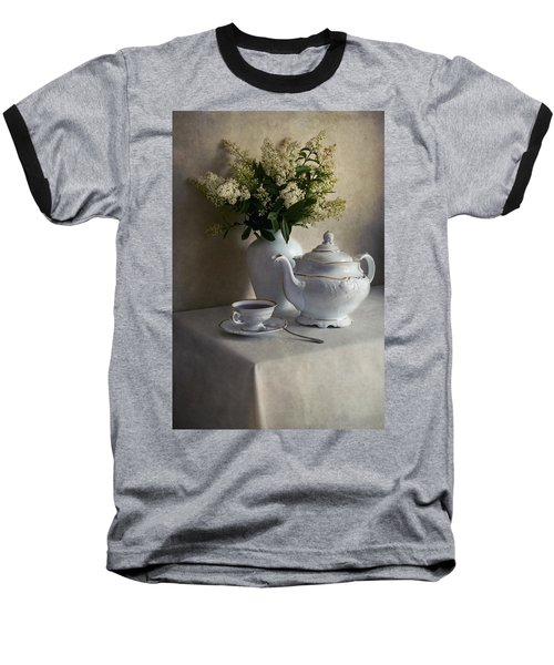 Still Life With White Tea Set And Bouquet Of White Flowers Baseball T-Shirt