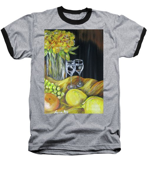 Still Life With Wine Glasses, Roses And Fruit. Painting Baseball T-Shirt