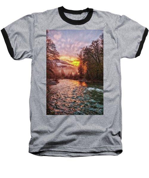 Stilly Sunset Baseball T-Shirt by Charlie Duncan