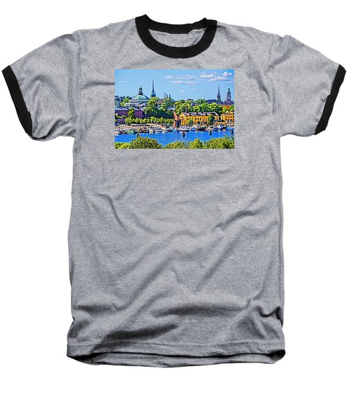 Baseball T-Shirt featuring the photograph Stockholm Waterfront by Dennis Cox WorldViews