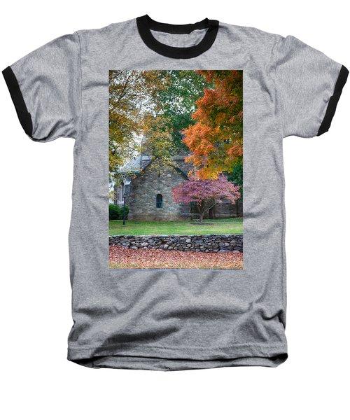 Stone Church In Pomfret Ct In Autumn Baseball T-Shirt