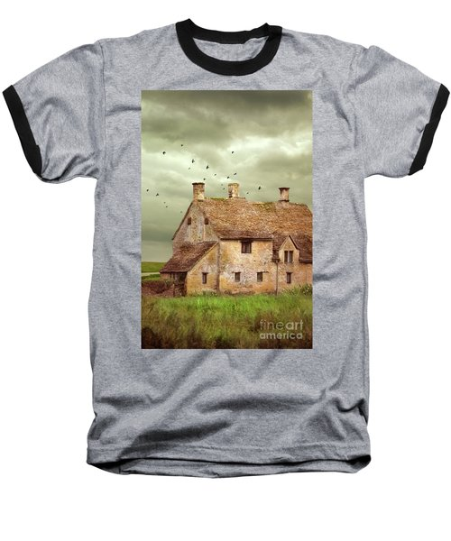 Stone Cottage And Stormy Sky Baseball T-Shirt by Jill Battaglia