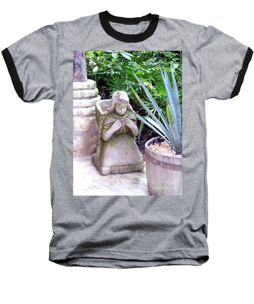 Baseball T-Shirt featuring the photograph Stone Girl With Basket And Plants by Francesca Mackenney