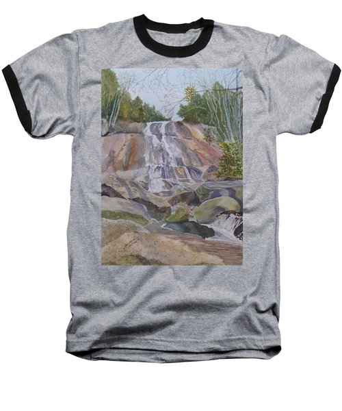 Baseball T-Shirt featuring the painting Stone Mountain Falls April 2013 by Joel Deutsch