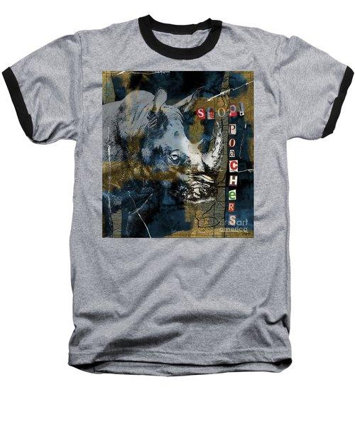 Baseball T-Shirt featuring the digital art Stop Rhino Poachers Wildlife Conservation Art by Nola Lee Kelsey