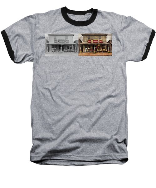 Baseball T-Shirt featuring the photograph Store - Grocery - Mexicanita Cafe 1939 - Side By Side by Mike Savad