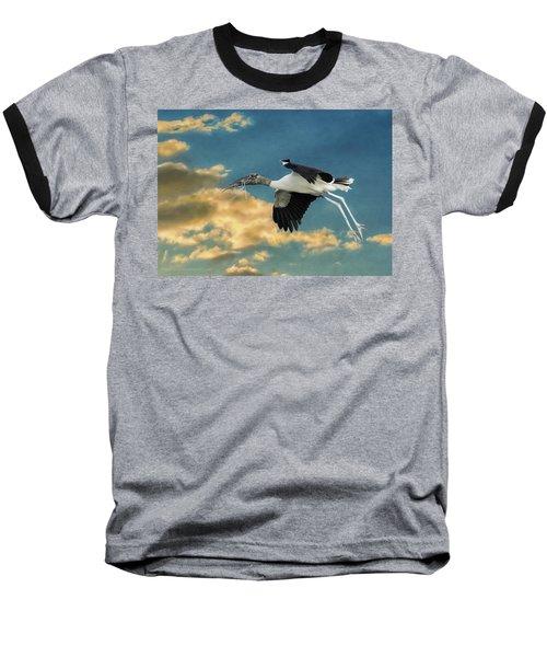 Stork Bringing Nesting Material Baseball T-Shirt