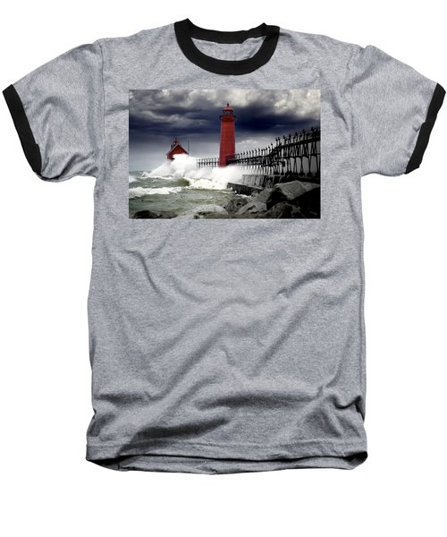 Storm At The Grand Haven Lighthouse Baseball T-Shirt