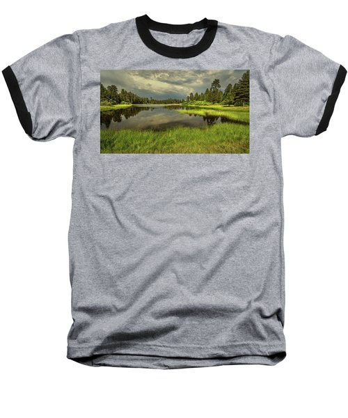 Storm Clouds Over Bluff Lake Baseball T-Shirt