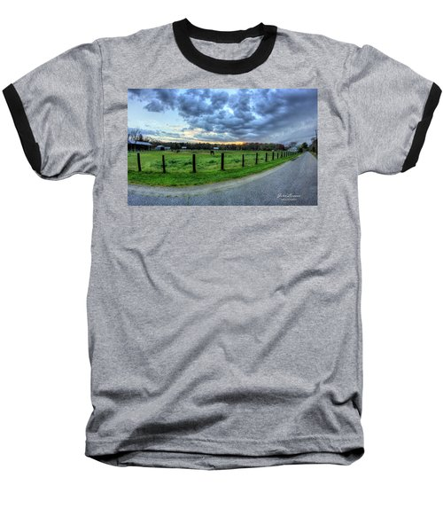 Storm Clouds Over Main Street Baseball T-Shirt by John Loreaux