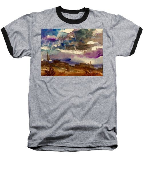 Storm Clouds Over The Desert Baseball T-Shirt by Ellen Levinson