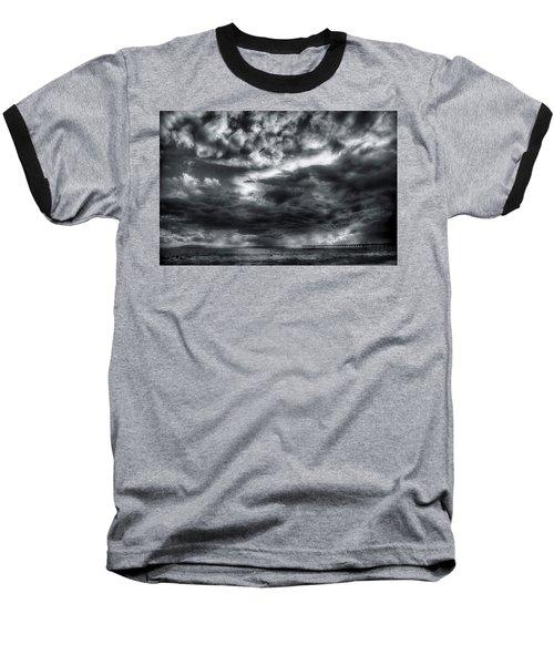 Baseball T-Shirt featuring the photograph Storm Clouds Ventura Ca Pier by John A Rodriguez