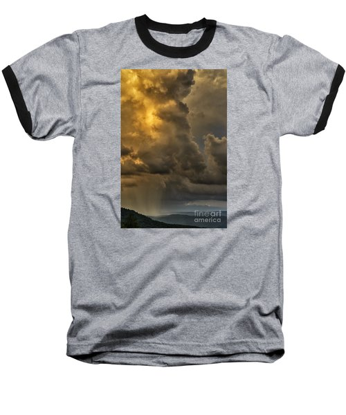 Storm Couds And Mountain Shower Baseball T-Shirt by Thomas R Fletcher