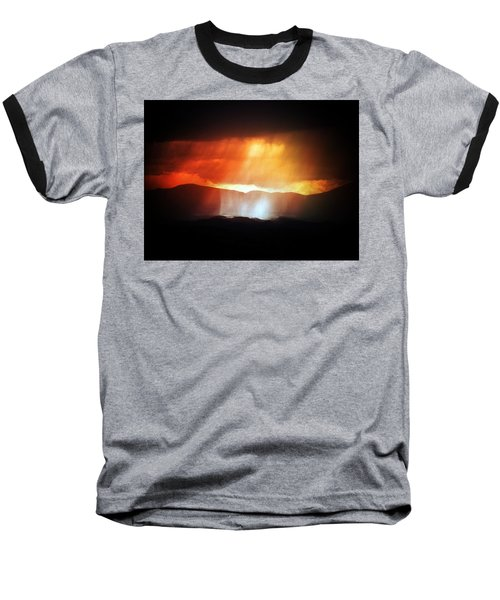 Baseball T-Shirt featuring the photograph Storm Glow Night Over Santa Fe Mountains by Joseph Frank Baraba