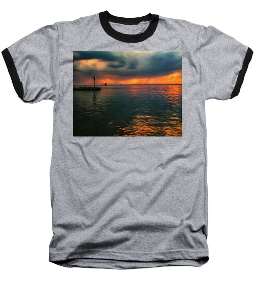 Storm In Lorain Ohio At The Lighthouse Baseball T-Shirt