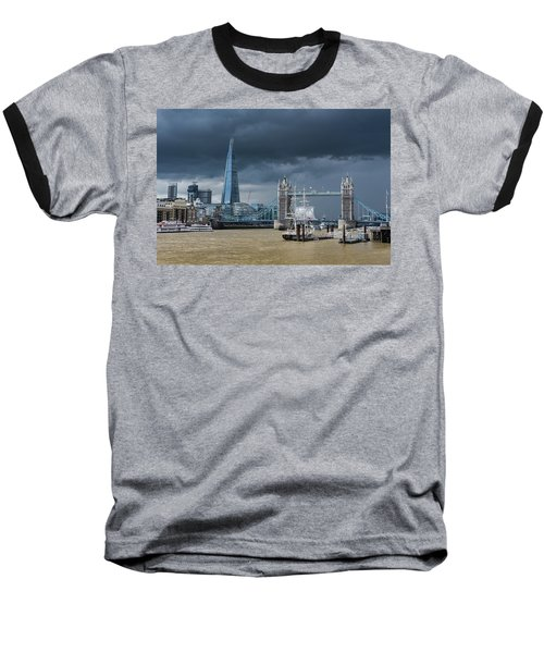 Baseball T-Shirt featuring the photograph Storm Looming Over The Shard And Tower Bridge by Gary Eason