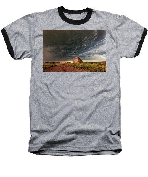 Storm Over Dinosaur Baseball T-Shirt