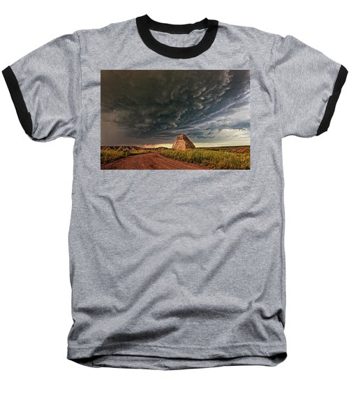 Storm Over Dinosaur Baseball T-Shirt