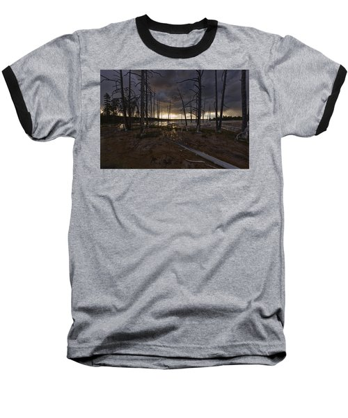 Storm Over Lower Geyser Basin Baseball T-Shirt