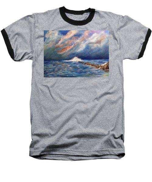 Storm Over The Ocean Baseball T-Shirt