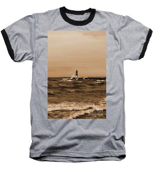 Storm Sandy Effects Menominee Lighthouse Sepia Baseball T-Shirt