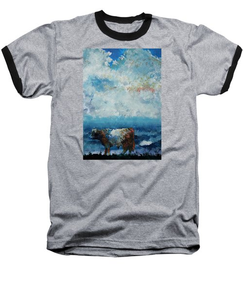 Storms Coming - Belted Galloway Cow Under A Colorful Cloudy Sky Baseball T-Shirt