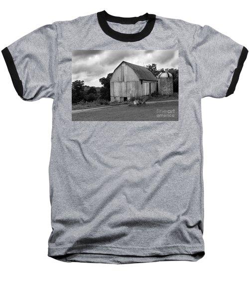 Stormy Barn Baseball T-Shirt by Perry Webster