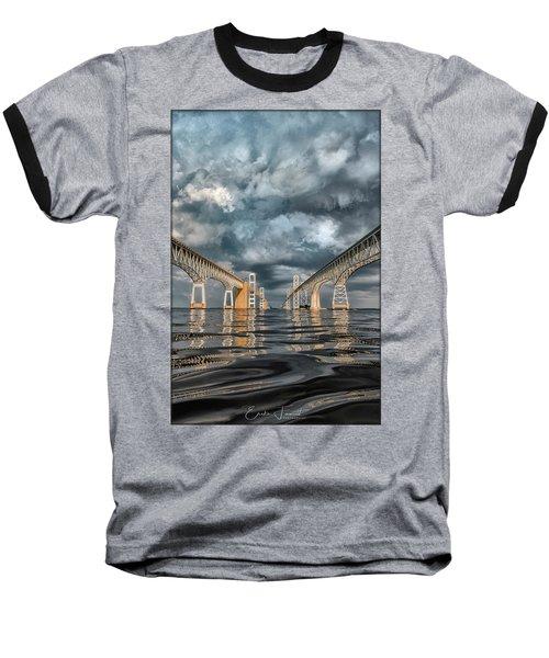 Stormy Chesapeake Bay Bridge Baseball T-Shirt