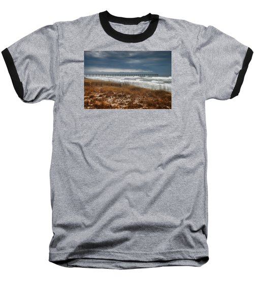 Stormy Day At The Pier Baseball T-Shirt by Renee Hardison