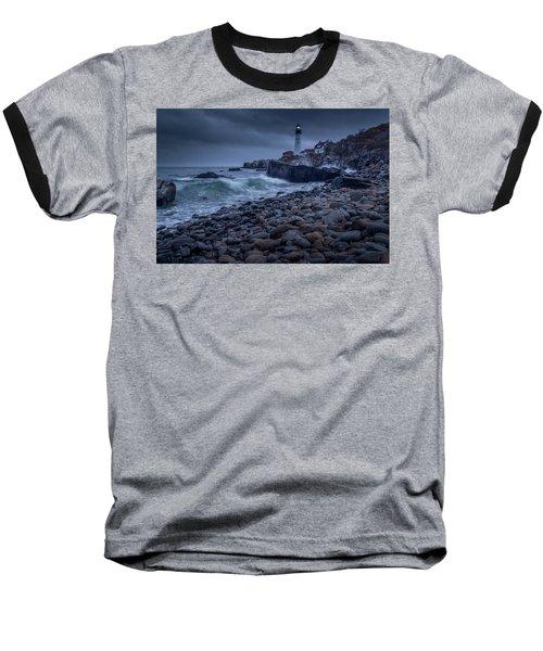 Stormy Lighthouse Baseball T-Shirt