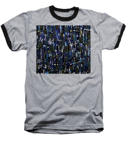 Baseball T-Shirt featuring the painting Stormy Night In The City by Teresa Wing