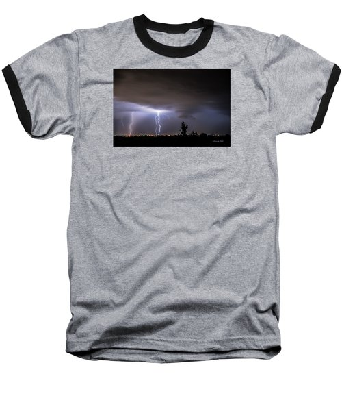 Stormy Night Baseball T-Shirt by Karen Slagle