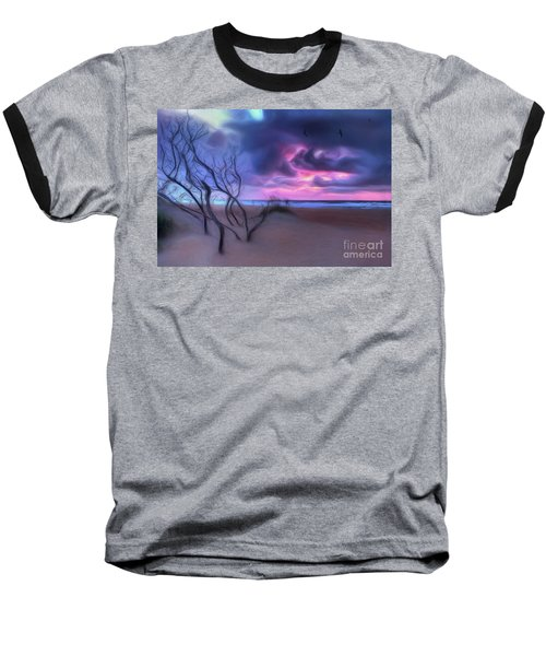 Stormy Outer Banks Sunrise And Bush Ap Baseball T-Shirt by Dan Carmichael