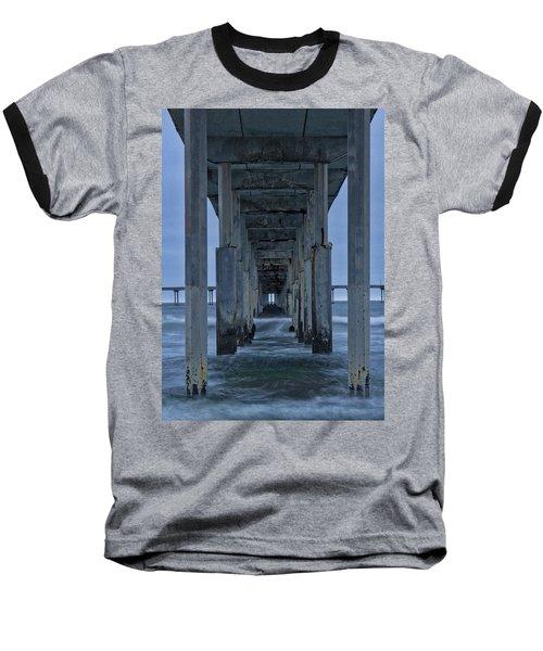 Stormy Pier In Ocean Beach Baseball T-Shirt