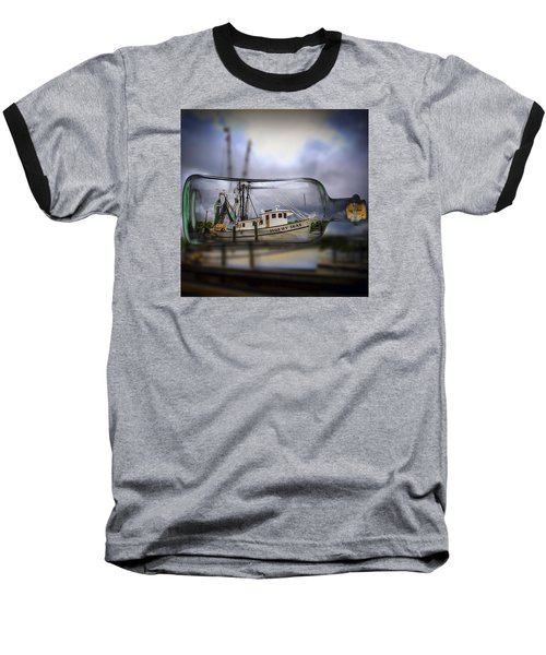 Stormy Seas - Ship In A Bottle Baseball T-Shirt by Bill Barber