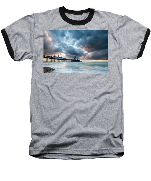 Stormy Sunrise Over Eastbourne Pier Baseball T-Shirt