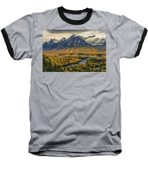 Stormy Sunrise Over The Grand Tetons And Snake River Baseball T-Shirt
