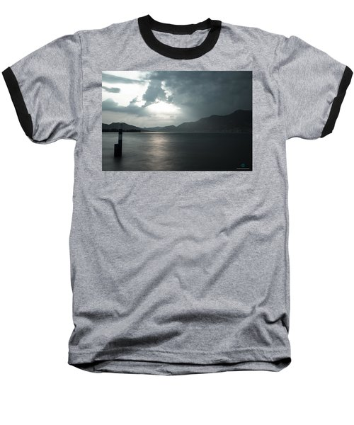 Stormy Sunset On The Lake Baseball T-Shirt by Cesare Bargiggia